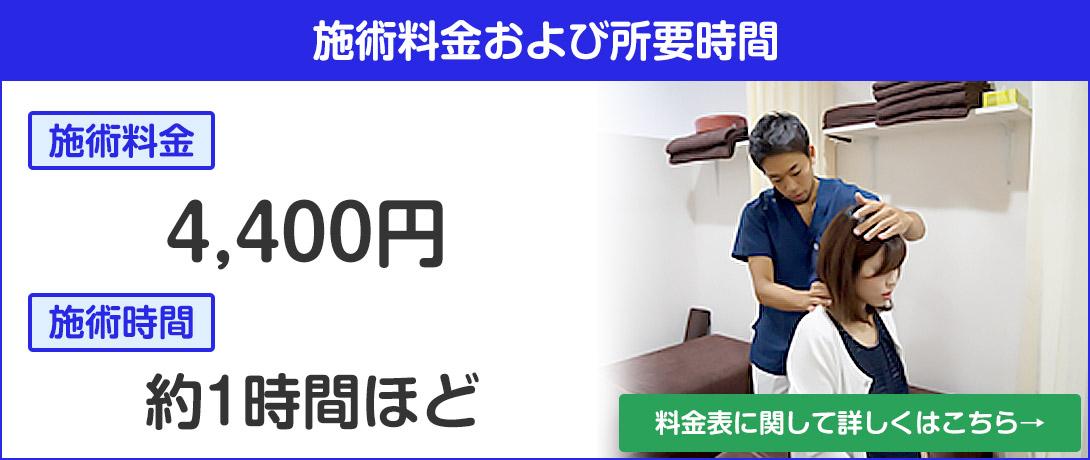 施術料金4400円、施術時間約1時間ほど